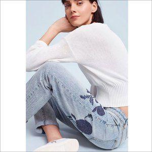 RARE: Pilcro Hyphen Embroidered Mid-Rise Jeans